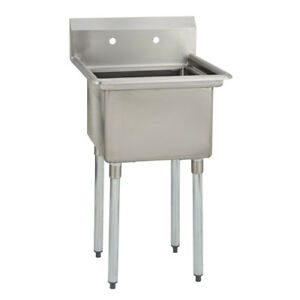 1 One Compartment Commercial Stainless Steel Utility Prep Mop Sink 25 X 25 5