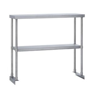 Commercial Kitchen Stainless Steel Double Overshelf For Work Tables 18x72