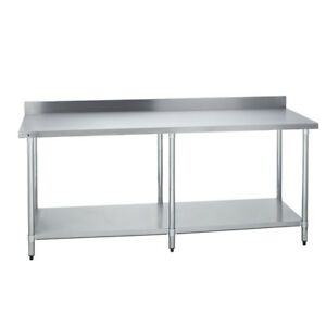 Stainless Steel Commercial Work Prep Table 4 Backsplash 30 X 96 G