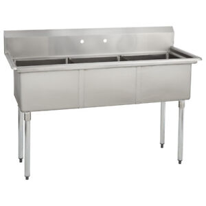 3 Three Compartment Commercial Stainless Steel Sink 53 X 25 8 G