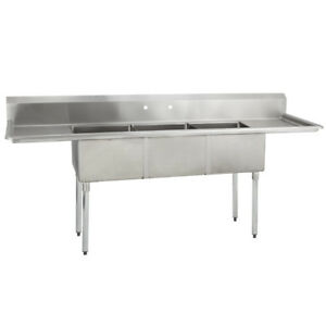 3 Three Compartment Commercial Stainless Steel Sink 90 X 29 5