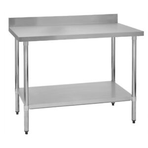 Stainless Steel Commercial Work Prep Table 4 Backsplash 24 X 48 G