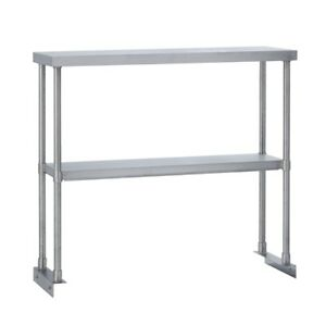 Commercial Kitchen Stainless Steel Double Overshelf For Work Tables 18x36