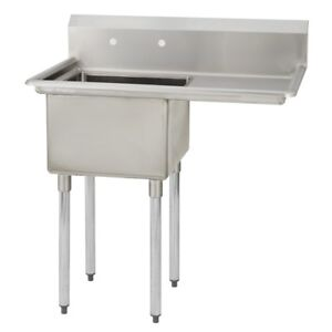 1 One Compartment Commercial Stainless Steel Prep Pot Sink 38 5 X 29 5