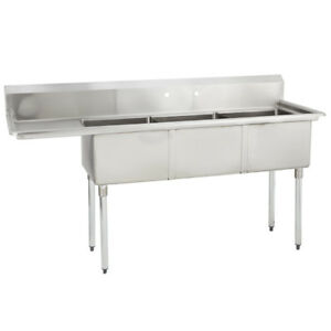 3 Three Compartment Commercial Stainless Steel Sink 74 5 X 23 8 G
