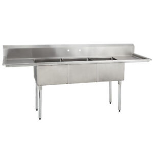3 Three Compartment Commercial Stainless Steel Sink 90 X 29 8 G