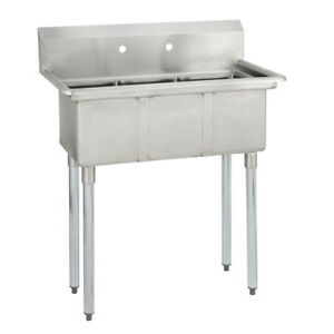 3 Three Compartment Commercial Stainless Steel Sink 35 X 19 8