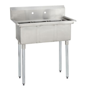 3 Three Compartment Commercial Stainless Steel Sink 35 X 20