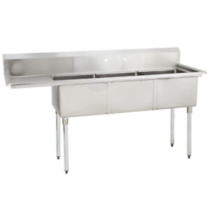3 Three Compartment Commercial Stainless Steel Sink 74 5 X 29 8