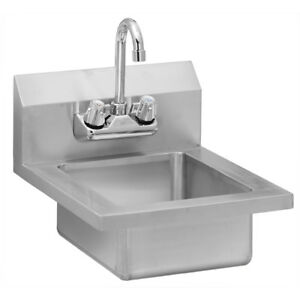 Stainless Steel Commercial Wall Mounted Hand Sink 14 X 16 5