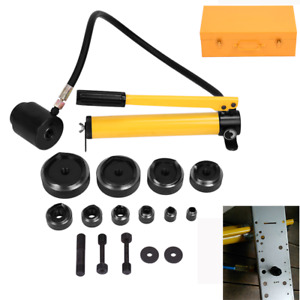 15 Ton 10 Dies Hydraulic Knockout Punch Driver Hand Pump Hole Tool Metal Case