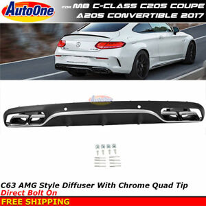 Amg Style 2017 C class Coupe Chrome Muffler Tips Rear Diffuser Quad Exhaust Pipe