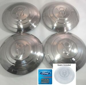 1932 Ford Car Set Of 5 4 spare Stainless Hubcaps V8 Logo 3 Raised Rings