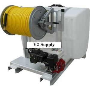 New 200 Gallon Skid Sprayer 8hp K55 Pump 150 Of 1 2 Hose Manual Reel