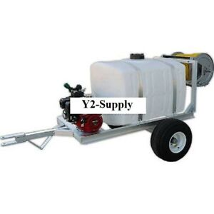 New 100 Gallon 2 wheel Trailer Sprayer 5 5hp Ge85 Pump 150 Of 3 8 Hose