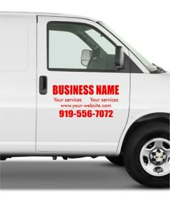 2 Units Van Car Truck Side Custom Vinyl Decal Lettering Sticker Business Sign