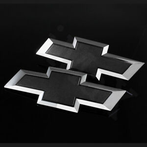 For 2014 2015 Gm Chevy Silverado Black Front Grill Tailgate Bowtie Emblem Set