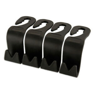 4 Pieces Black Universal Car Seat Headrest Back Hanger Hook Bag Cloth Holder