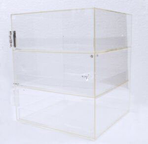 Toys Box Candy Serve Store Acrylic 3 Trays Bakery Pastry Display Case Figures
