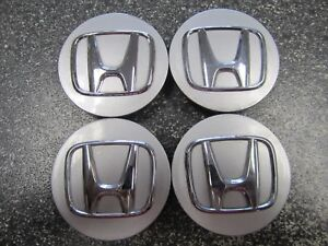 Set Of 4 Rare Oem Honda Center Caps Silver With Chrome Logo 44742