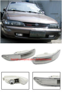 For 93 97 Toyota Corolla E100 Front Bumper Signal Lights Lamps Pair Clear Lens