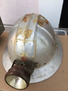 Vtg Hard Hat Forest Electric Corp Jackson Products Silver Mining Helmet Light