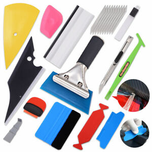 Car Vinyl Application Kit Felt Squeegee Tool Scraper Razor Wrapping Gloves Us