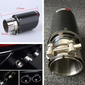 Real Carbon Fiber Auto Suv Exhaust Pipe Muffler End Tips For Car 63mm 89mm Gloss