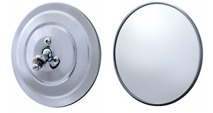 Pair 2 5 Round Chrome Side Rearview Mirrors With Ribbed Back