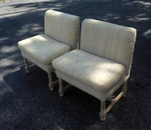 Pr Mid Century Spanish Style Chairs Low Back Hollywood Regency Glam