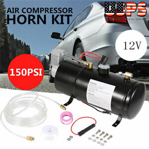 12v Truck Pickup On Board Air Horn Air Compressor 150psi With 3 Liter Tank Us