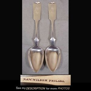2 Antique 1825 41 R W Wilson Coin Silver Fiddleback Serving Spoons