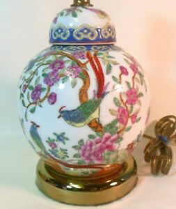 Vtg Antique Chinese Vase Ginger Jar As Lamp Famille Rose Enamel Ptd Pheasants