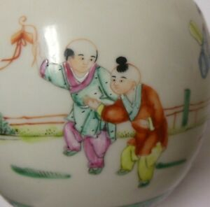 Vtg Antique Chinese Asian Porcelain Vase Ginger Jar Famille Verte Children Qing