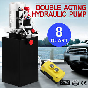 Hydraulic Double Acting Pump 12v 8qt Tank Metal Reservoir Without Remote