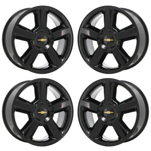 20 Chevrolet Silverado Tahoe 1500 Truck Black Wheels Rims Factory Oem Set 5308