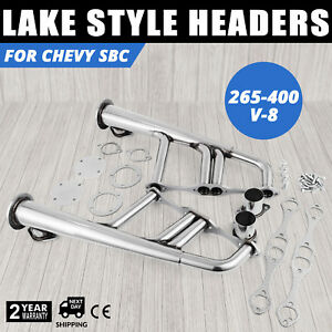 Pop Lake Style Headers For Chevy 265 400 Sbc V 8 Rat Rods Professional Car