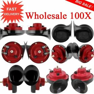 100pc 12v 110db Dual Tone Replacement Electric Automobile Car Motorcycle Horn B2