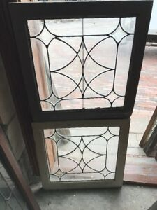 Sg 1592 Match Pair Antique Beveled Leaded Glass Windows 24 25 X 25