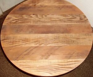 Round Rustic Solid Reclaimed Barn Wood 24 Deli Bar Pub Table Top Restaurant