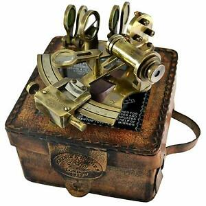 Solid Brass Sextant With Handmade Leather Case Marine Gift Astrolabe