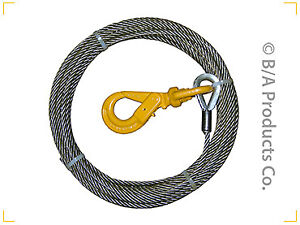 3 8 Fiber Core Winch Cable W Self Locking Hook For Tow Trucks Wreckers Rollback