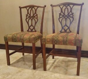 Pair Of Vintage Mahogany Chippendale Occasional Chairs