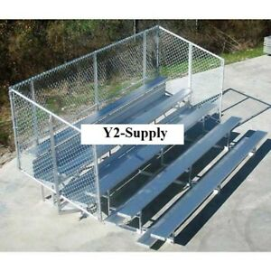 New 4 Row National Rep Aluminum Bleacher With Guard Rail 15 Wide