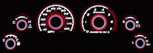 Red Glow 1994 1998 Ford Mustang V6 120 Mph Gauge Face Overlay Svt Gt New
