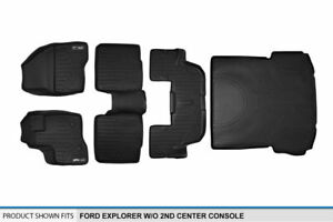 2011 2014 Ford Explorer W o 2nd Row Console Black Floor Mats Complete Set
