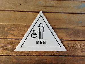 Hard Plastic Triangle Men Restroom Sign With Wheelchair Symbol