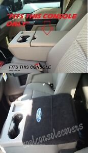 2011 2019 Ford F150 F250 Black Center Console Cover Armrest Embroidered Logo
