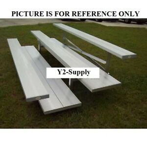 New 4 Row Universal Low Rise Aluminum Bleacher 7 1 2 Wide Double Footboard