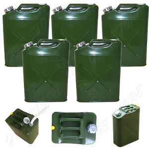 5 Pack 5 Gal 20l Eu Gas Gasoline Fuel Army Jerry Can Military Metal Steel Tank